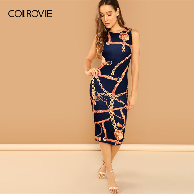 COLROVIE Navy Chain Print Tank Elegant Bodycon Dress Womens 2019 Korean Spring Sleeveless Midi Dress Office Fashion Dresses