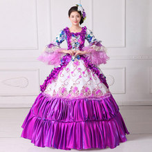 100%real purple ruffled flower Medieval Renaissance ball gown Sissi princess dressVictorian/Marie Antoinette/Colonial Belle Ball