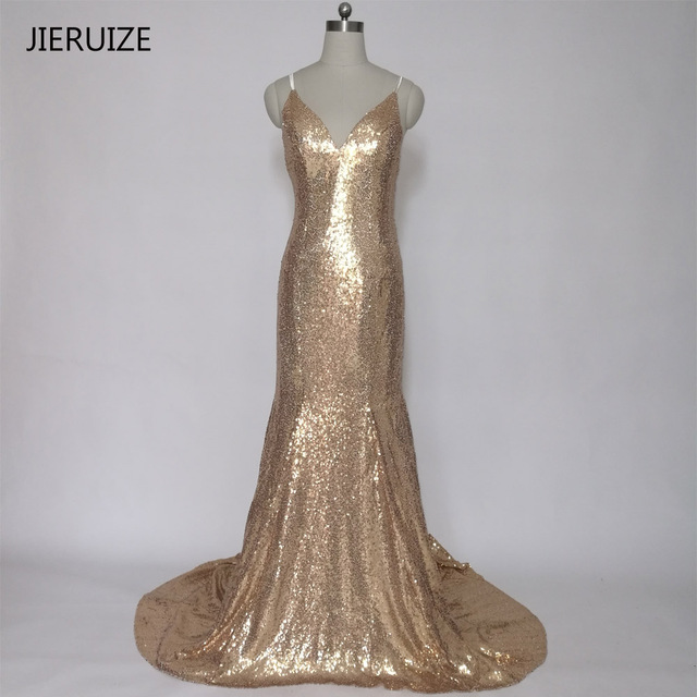 JIERUIZE Gold Champagne Sequin Mermaid Prom Dresses V neck Spaghetti ...