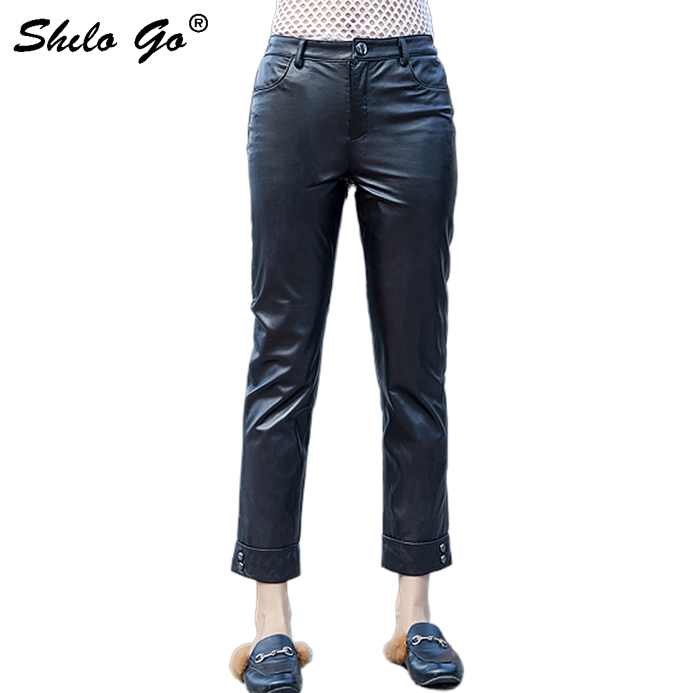Streetwear Leather   Pants   Women Casual Single Button High Waist Sheepskin Genuine Leather Pencil   Pants   Concise Female   Capris