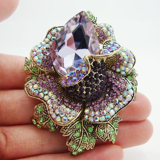 Высококачественная винтажная роза цветок фиолетовая австрийский горный хрусталь подвес, брошь, значок