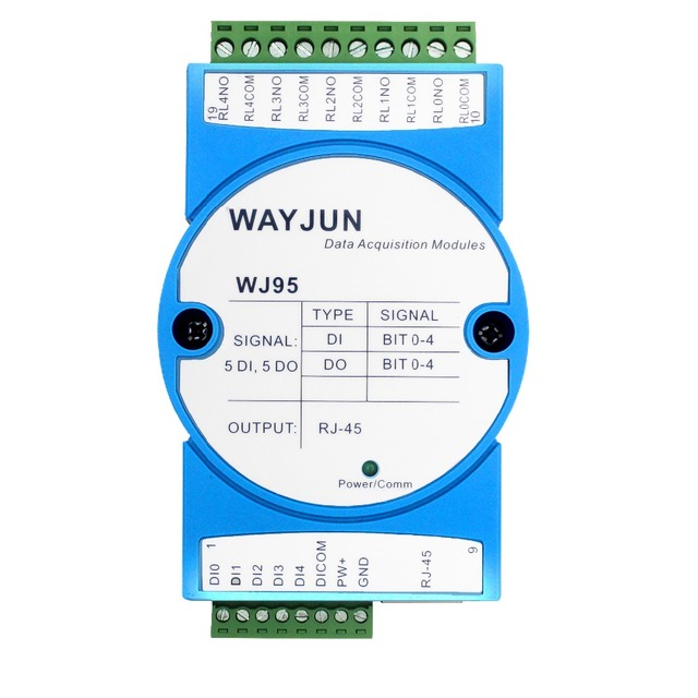 Five way switch input Five way DO network relay Modbus TCP remote IO module portal relay WJ95