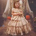 2017 Vintage Champagne Flower Girl Dresses Ball Gown Princess With Lace Communion Dresses Tiered Ruffles Satin Pageant Gown