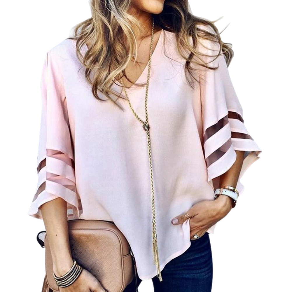 Women 3 4 Bell Sleeve V Neck Lace Patchwork Blouses Casual Loose Shirt Summer Solid Tops GDD99 in Blouses amp Shirts from Women 39 s Clothing