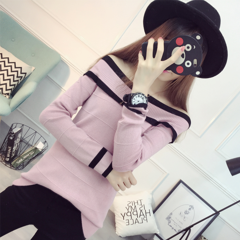 El nuevo color del otoño suéter de cuello delgado femenino de Corea del hombro d