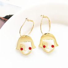 Creative face earring chic contracted metal geometric earrings fashion joker sweet girl wind earrings wholesale цена
