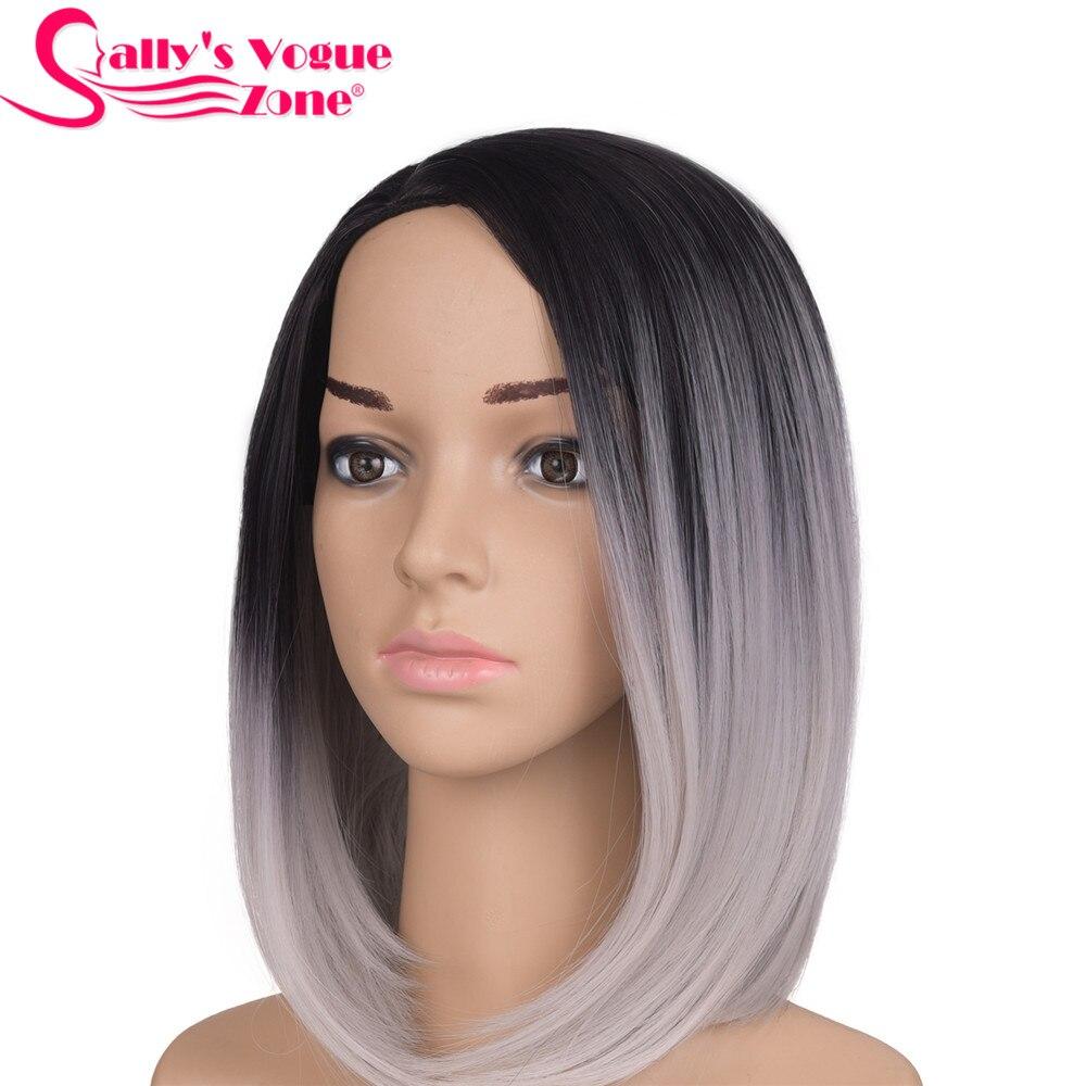 Sallyhair High Temperature Synthetic Straight Short Ombre Black Silver Grey Color American African Bob Wigs Hair For Black Women headpiece