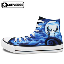 Men Women's Converse All Star Hand Painted Shoes The Nightmare Before Christmas Design High Top Canvas Sneakers Man Woman