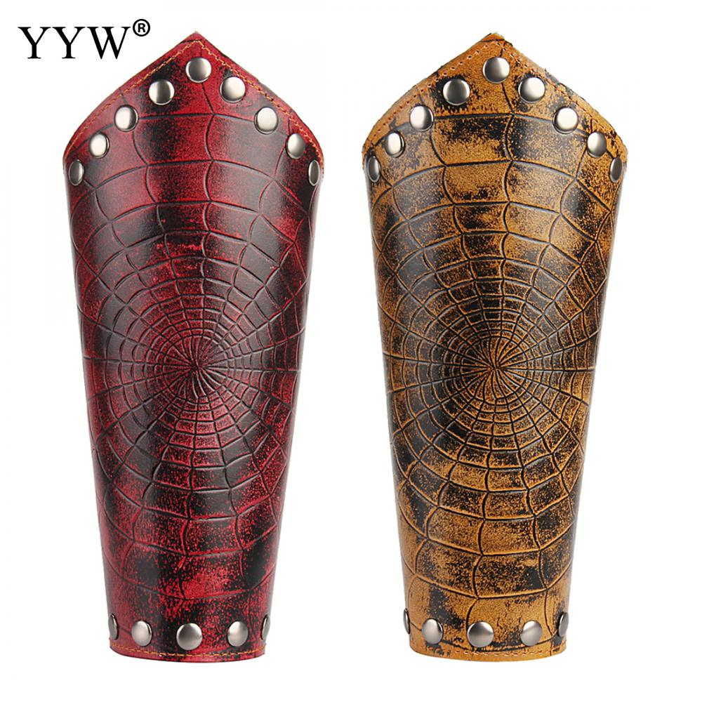 YYW Cosplay Props Faux Leather Bracers Lace Up Arm Cuff Cross String Spiderweb Steampunk Medieval Fashion Red Gauntlet Wristband