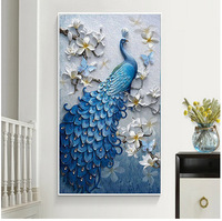 POVUOP New 5D Diamond Painting Blue Peacock Vertical Version Diamonds Embroidered For Living Room Painting Full