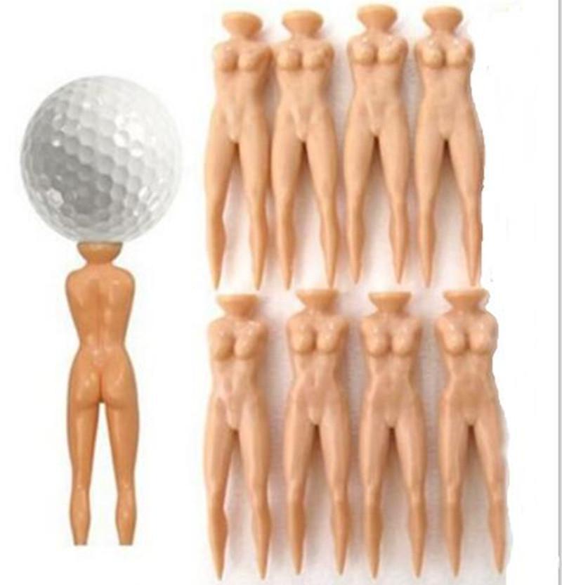 Novelty Joke Nude Lady Golf Tee Plastic Practice Training Golfer Tees - 8Pcs/Bag