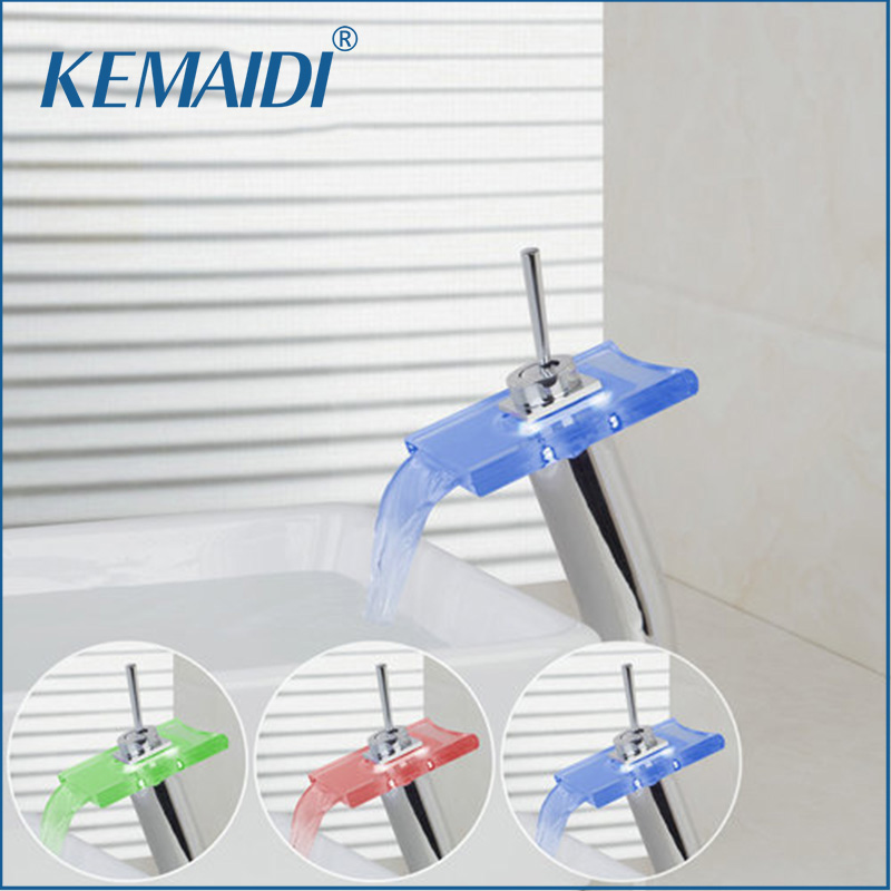 KEMAIDI Bathroom Faucets Deck Mount Mixer Waterfall LED Light Basin Sink Vessel Vanity Sink Faucet Water Tap led waterfall bathroom basin faucet dual handle vanity sink mixer tap deck mount