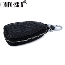 COMFORSKIN 100% Genuine Leather Plaid Key wallets New Arrivals Multi-function Case For Cars Litchi Pattern Wallets 2019