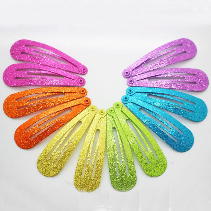 Winter newest style 12 pcs/lot fashionable glitter hair snap clips hairgrips colorful solid metal hairpins girls Christmas gifts 24pc hair styling braid hair snap clips for girls headwear hair ornaments black snap hairgrips hairclip barrettes hairpins clips