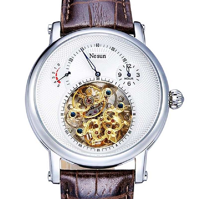 (Prix le plus bas) Suisse Marque Nesun Creux Tourbillon Montre Hommes Mécanique Automatique Pour Hommes Montres Saphir montre Étanche