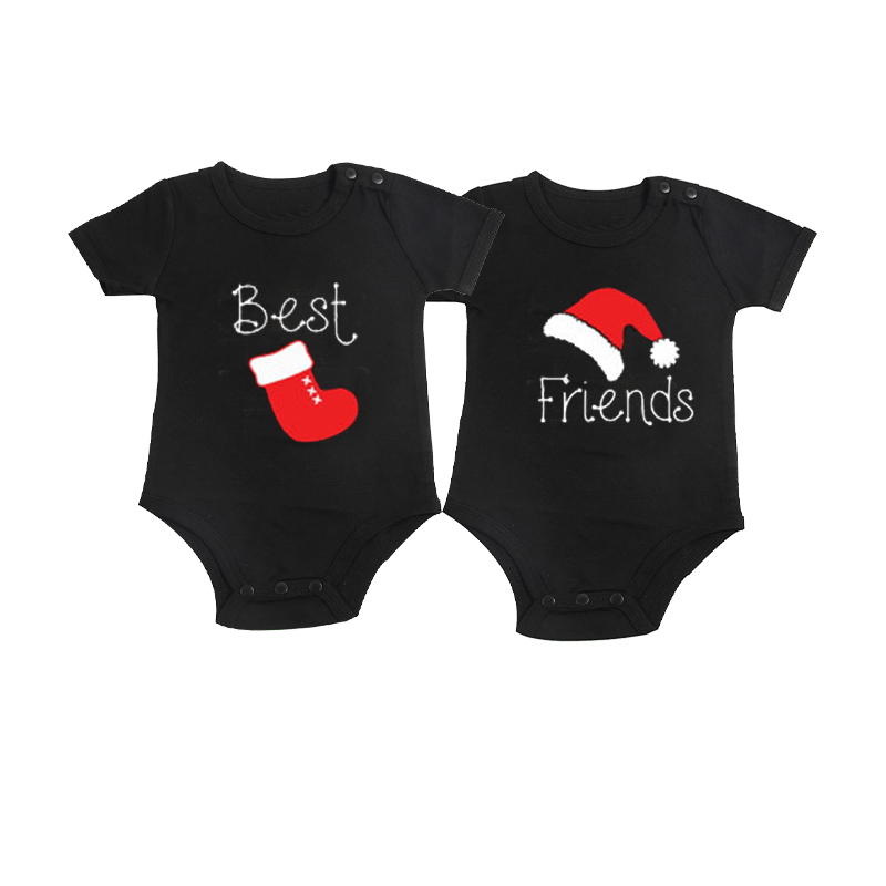 Culbutomind Christmas Best Friends Twins Baby Bodysuits Sets of 2 Baby Clothing Black Cotton Long Sleeve Twins Matching Sets