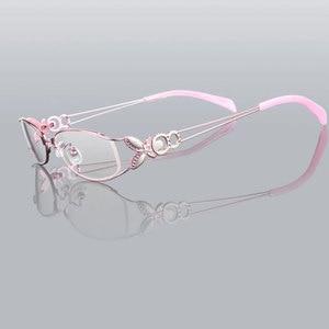 Image 5 - 蝶合金エレガントな女性メガネフレームの女性ヴィンテージ光学ガラス平野アイボックス眼鏡フレーム近視メガネ