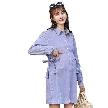 0f10444dc Oklady 2019 Nova Camisa Da Forma de Maternidade Vestido de Maternidade  Grávida Roupas de Enfermagem Ocasional Mangas Compridas Listradas Roupas de  Gravidez