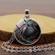 Black Raven Necklace Gothic Crow Pendant Bird Jewelry Glass Cabochon Photo Animal Necklace for Lover Statement Necklace(China)