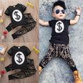 Muchachos Marca de Dólar Camiseta Tops + Pantalones Bebé Fresco Kids Geométrica Trajes Ropa Casual Boy Street Fashion Outwear Outfit Set 1-6Y
