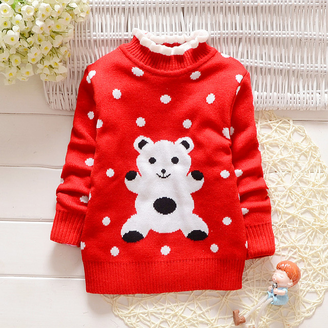 2016 new boys sweater cute cartoon girls sweater warm thickening winter kids cotton outwear children knitted cardigan pull fille