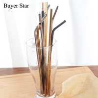 Kids Drinking Straw Reusable Straws Cleaner Brush Set 18cm High Quality Eco Friendly Metal Straw for Children