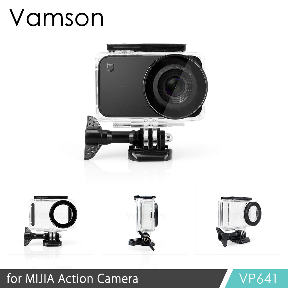 Vamson For Xiaomi Mijia 4k Diving Waterproof Case Protect Shell Camera Case 4K Action Camera Housing Kit Safety Rope VP641