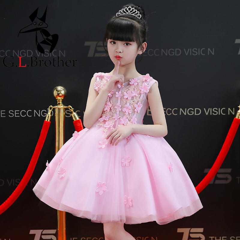 2-10Y Flower Girl Dress Knee-Length Princess Dress Children Pink Ball Gown Appliques Wedding Dress Birthday Party Gown AA288 buttoned knee length pin up dress