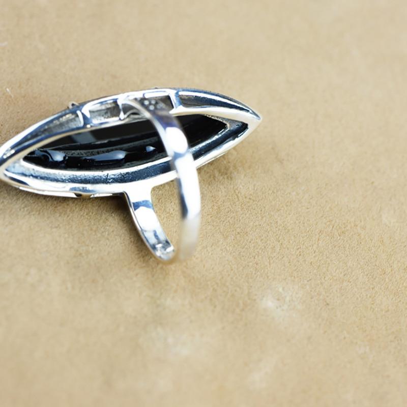 Garanti argent 925 bague Antique bagues pour femmes losange Agate noire pierre naturelle bijoux fins Anillos Mujer - 3