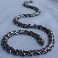 16 40'' vary length dragon link men/boy jewelry punk 316L stainless steel 2 kind wear method chain necklaces or bracelet 1pc