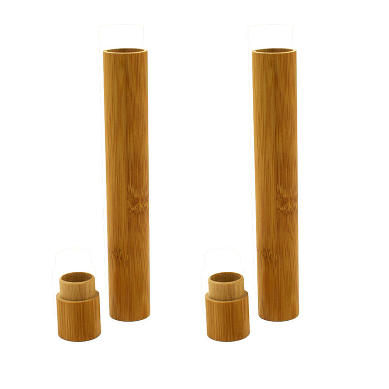2PCS Bamboo Tube Portable Natural Bamboo Toothbrush Case Tube For Travel Eco Friendly Hand Made Bathroom Decor 40MR2503