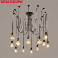LOFT moderne Lustre noir lustres 6-14 bras rétro réglable Edison ampoule lampe E27 Art Spider plafonniers luminaires