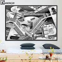 Poster Escher Surreal Geometric Posters and Prints Canvas Painting Wall Art Picture for Living Room Home Decoration