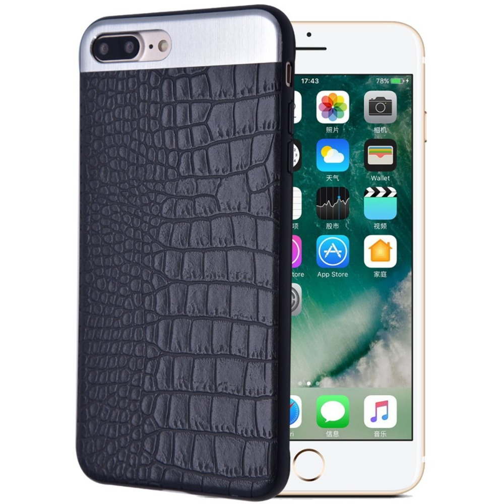 Cover For iPhone 7 Case iPhone 6 Case iPhone 6s 7 8 Plus Luxury Classic Pu Leather Metal Business ultra Slim Case