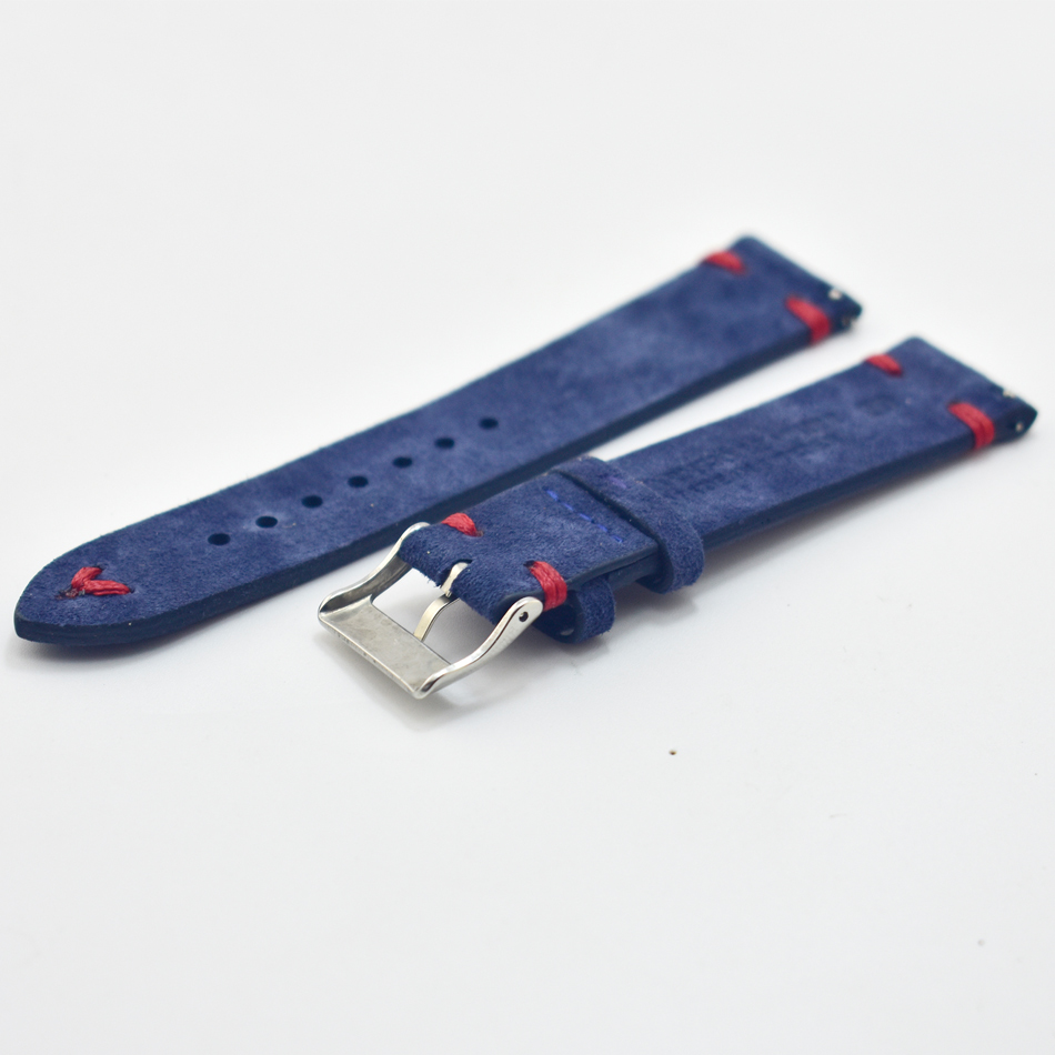 Men Watch Band Genuine Suede Leather Vintage Straps 18mm 20mm 22mm 24mm Watch Accessories High Quality Blue Watchbands Strap