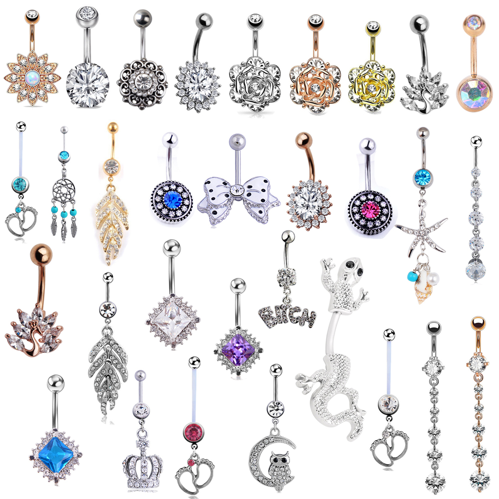 Jewelry Button-Rings Belly-Bar Crystal Body-Piercing Steel Butterfly Dangle Sexy Waterdrop
