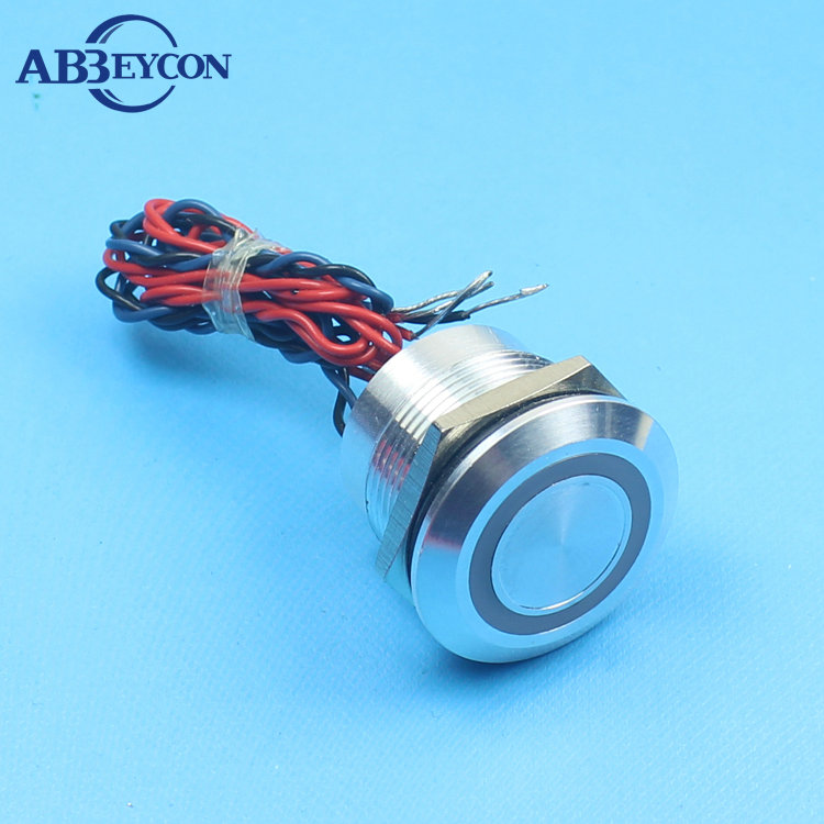 ABBEYCON IP68 22mm White Blue Red Blue Yellow Illuminated Light LED 12V Momentary Stainless Pre-wired Touch Piezo Switch elewind 22mm ring illuminated piezo switch 22mm ps223p10yss1b24t rohs ce