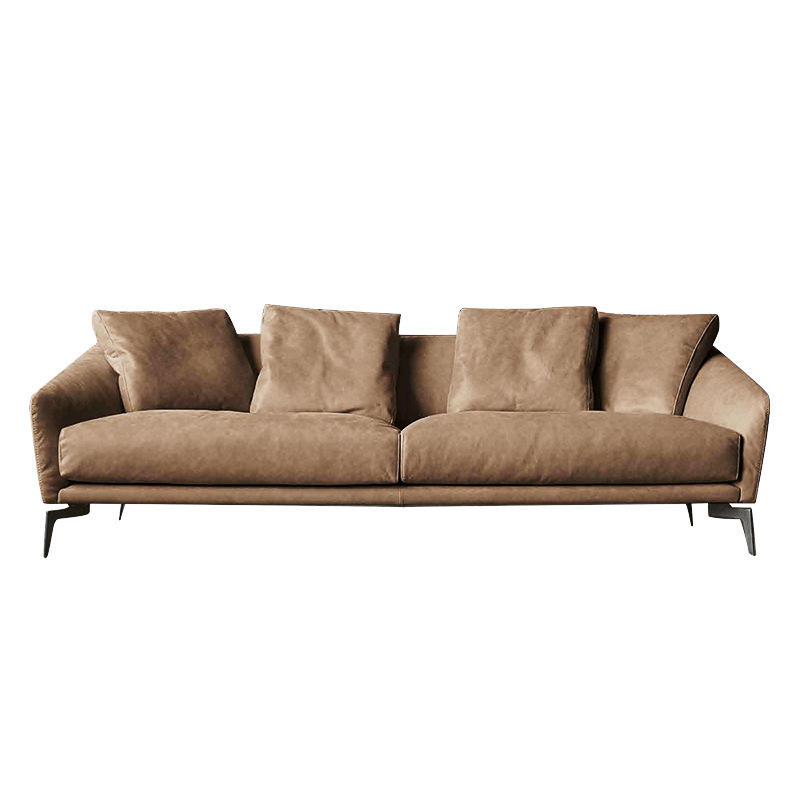 US $563.04 28% OFF|Nordic minimalist Italian style leather sofa modern  minimalist living room first layer leather three person down sofa-in Living  ...