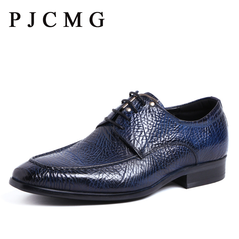 ФОТО PJCMG New Fashion Genuine Leather Flat Black/B Lace-Up Oxfords British Style Bullock Business Men Party Office S Dress hoes