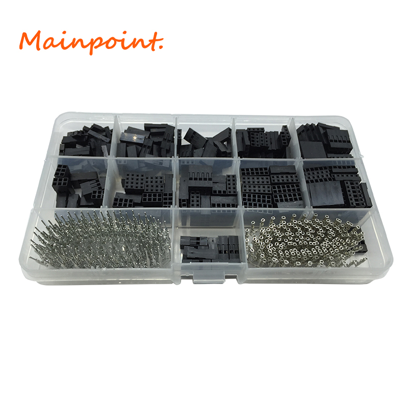 620Pcs Dupont Connector Set Wire Cable Jumper Header Kit Male Crimp Pins Female Pin Connector Terminal Pitch With Box Tools Set 100pcs 16awg bootlace cooper ferrules kit set wire copper crimp connector insulated cord pin end terminal en1508