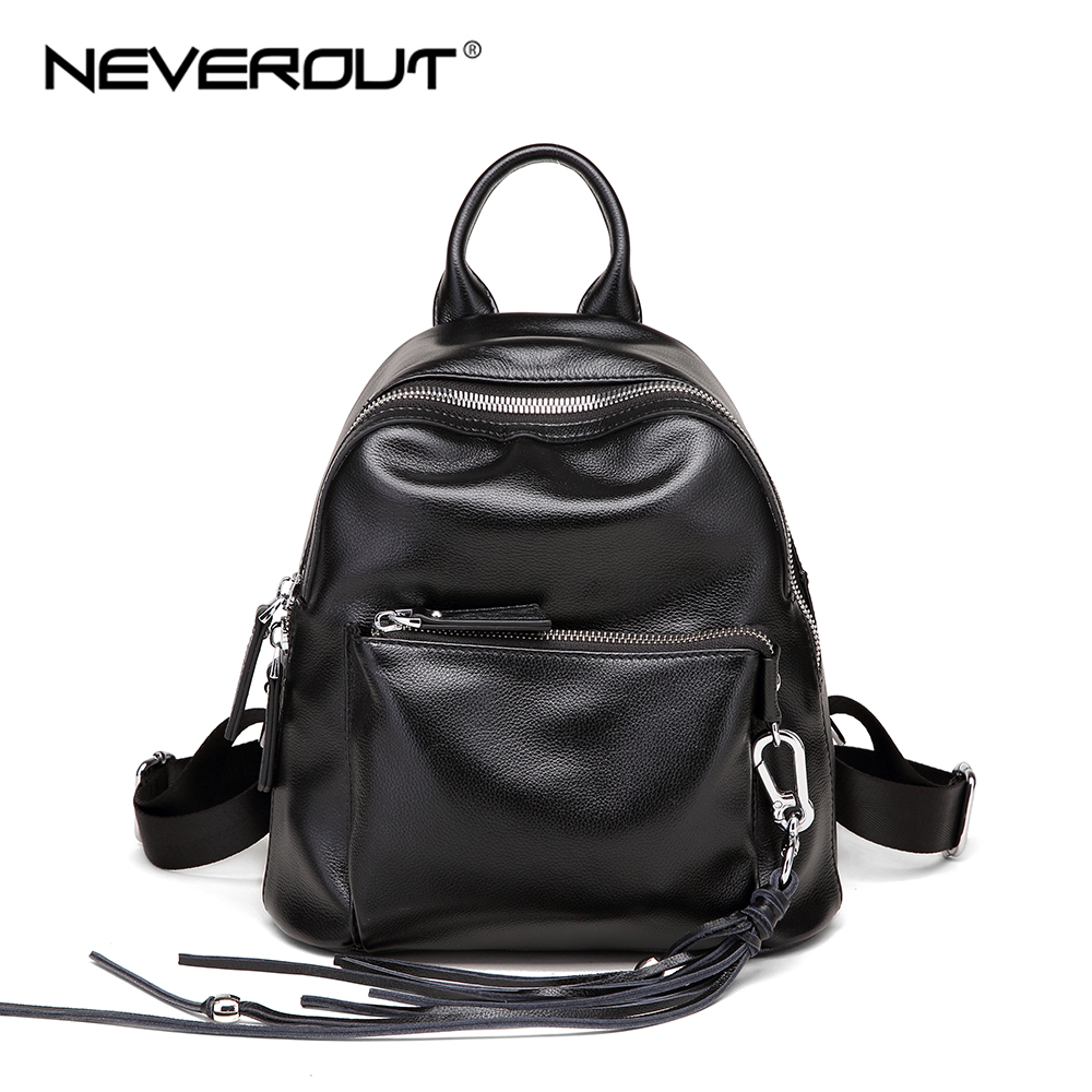 NEVEROUT Ladies Real Leather Small Backpacks Soft Black Backpack Zipper Women Shoulder Bag High Quality Waterproof