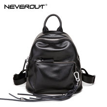 NEVEROUT Ladies Real Leather Small Backpacks Soft Black Backpack Zipper Women Shoulder Bag High Quality Waterproof Girls