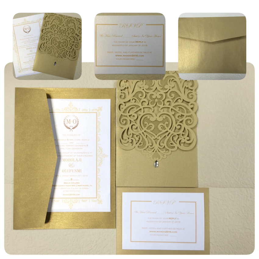 Gold Wedding Invitations, Gold Lace Wedding Invitation Cards, Lase Cut Gold Wedding Cards, Custom Wedding Invitation - Set of 50 1 design laser cut white elegant pattern west cowboy style vintage wedding invitations card kit blank paper printing invitation