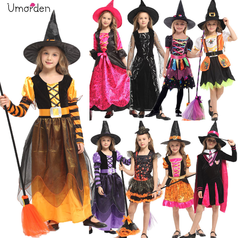 Halloween Costumes for Children Kids Girl Girls Witch Costume Dress Hat Fancy Fantasia Infantil Cosplay Clothing Black Purple figurine