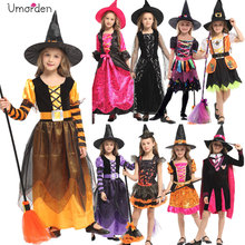 Halloween Costumes for Children Kids Girl Girls Witch Costume Dress Hat Fancy Fantasia Infantil Cosplay Clothing Black Purple