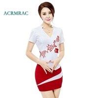 ACRMRAC Women's suits New summer short Slim embroidery Patchwork Short sleeve jacket skirt Business OL Formal Skirt Suits