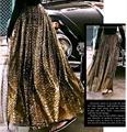 2017 Золотой Порошок Лоскутное Эластичный Высокой Талией Женщины Юбки Новая Мода Уличной ЮБКА d08
