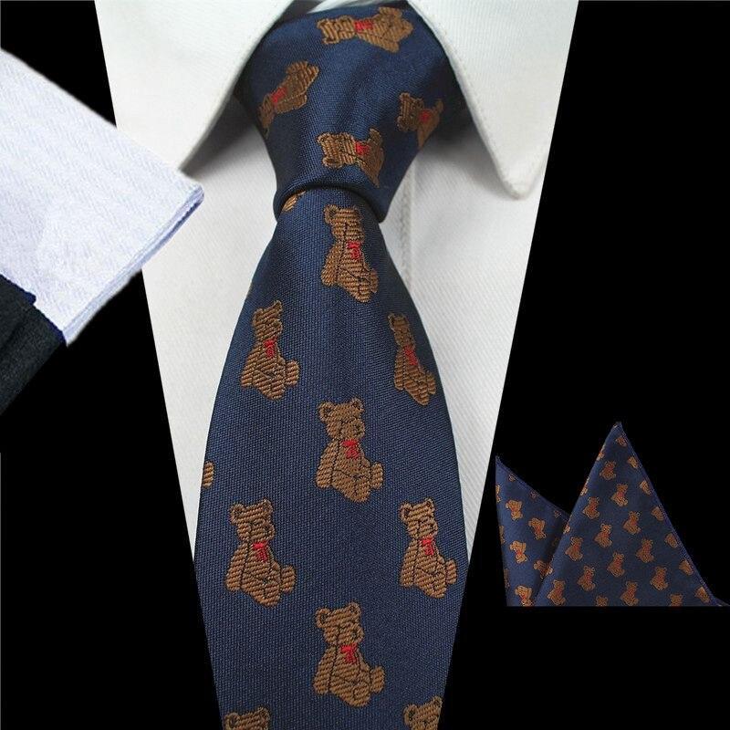 Men Tie With Match Handkerchief Paisley Tie Hanky Sets 100% Silk Bear Cartoon Printed Ties For Men Formal Wedding Party