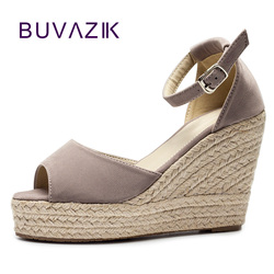 2018 été nouvelle plate-forme compensée à talons hauts femmes sandales paille grande taille 41 42 43 femmes sandales dames chaussures sandalias mujeres