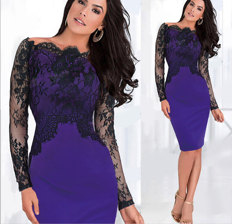Sexy Lace Mesh Long Sleeve Office Work Blue Bodycon Vestidos Dress ...
